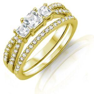3-Princesa-Imitacion-Diamantes-Oro-Amarillo-Plata-de-Ley-Set-Anillo-Compromiso