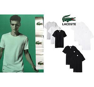 119f99c8 Lacoste 3 Pack Basic T Shirts Crew Neck Black Grey White RAM8701 NEW