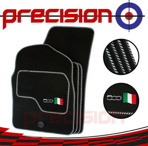 Classic-Black-Carpet-Car-Mats-with-500-Logo-amp-Silver-Twist-for-Fiat-500-07-12