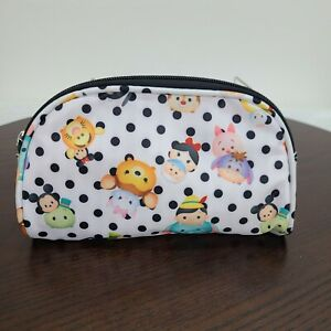 Disney Tsum Tsum Round Clutch Bag Makeup Toiletries Purse Zip White Polka Dot