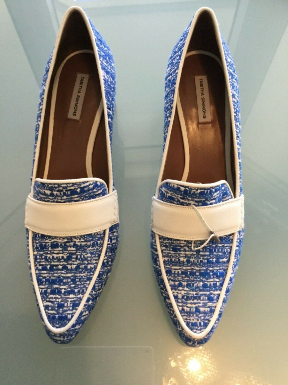 qualità ufficiale TABITHA SIMMONS MARGOT MARGOT MARGOT heeled loafer pump, sz 40.5  blu bianca  Mocassin  servizio premuroso