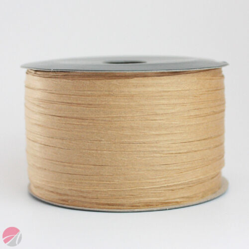 7mm x 100M RAFFIA PAPER RIBBON Gifts Flowers Wedding Crafts Presents