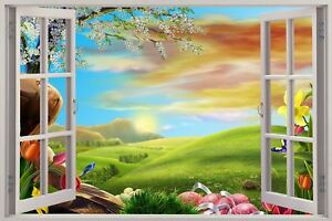 Huge-3D-Window-view-Enchanted-Meadow-Wall-Sticker-Mural-Art-Decal-191