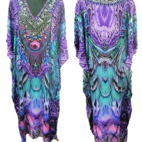 5XL Long Purple Embellished Kaftan