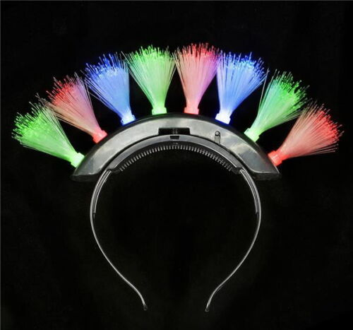 2 MULTI-COLOR FIBER OPTIC MOHAWK HEADBANDS BATTERIES INCLUDED PARTY GAG GIFT