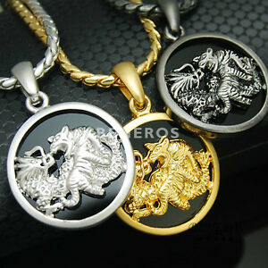 Dragon and Tiger Onyx Pendant Necklace Gold Silver Black Plated Mens