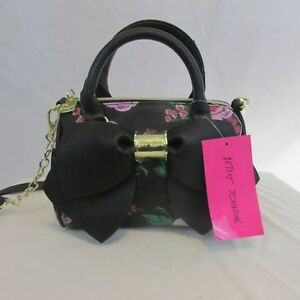 Details About Betsey Johnson Purse Tote Bag Black W Fl Pattern Large Bow New