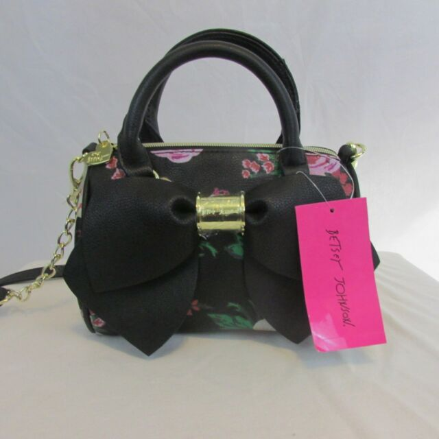 Betsey Johnson Purse Tote Bag Black W Fl Pattern Large Bow New