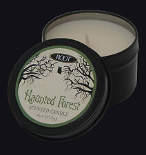 ROOT CANDLES HAUNTED FOREST HALLOWEEN TRAVEL TIN SCENTED CANDLE. WHITE CANDLE.