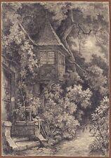 Ludwig Eduard Boll, Erker mit Garten bei Mondschein, Bleistift, um 1850