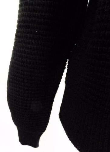 Retro Cardigan Classic Waffle Knit Black