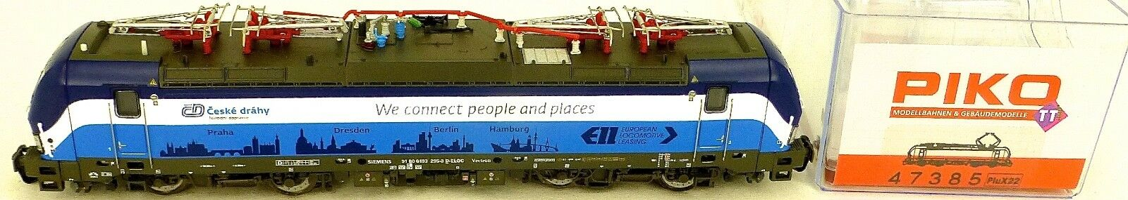 PIKO 47385 E-locomotive 193 Vectron CD Prague Berlin Hamburg TT 1:120 OVP µ