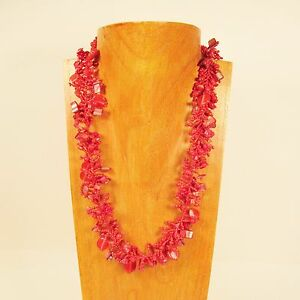 22-034-Coral-Red-Stone-Shell-Chip-Handmade-Seed-Bead-Necklace-FREE-SHIPPING