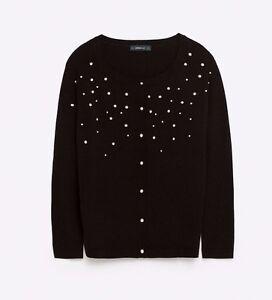 ac4e2a5b6d7 Details about Zara Women's Black Pearl sweater cardigan Jumper Size Small  S, Medium M 6888/150