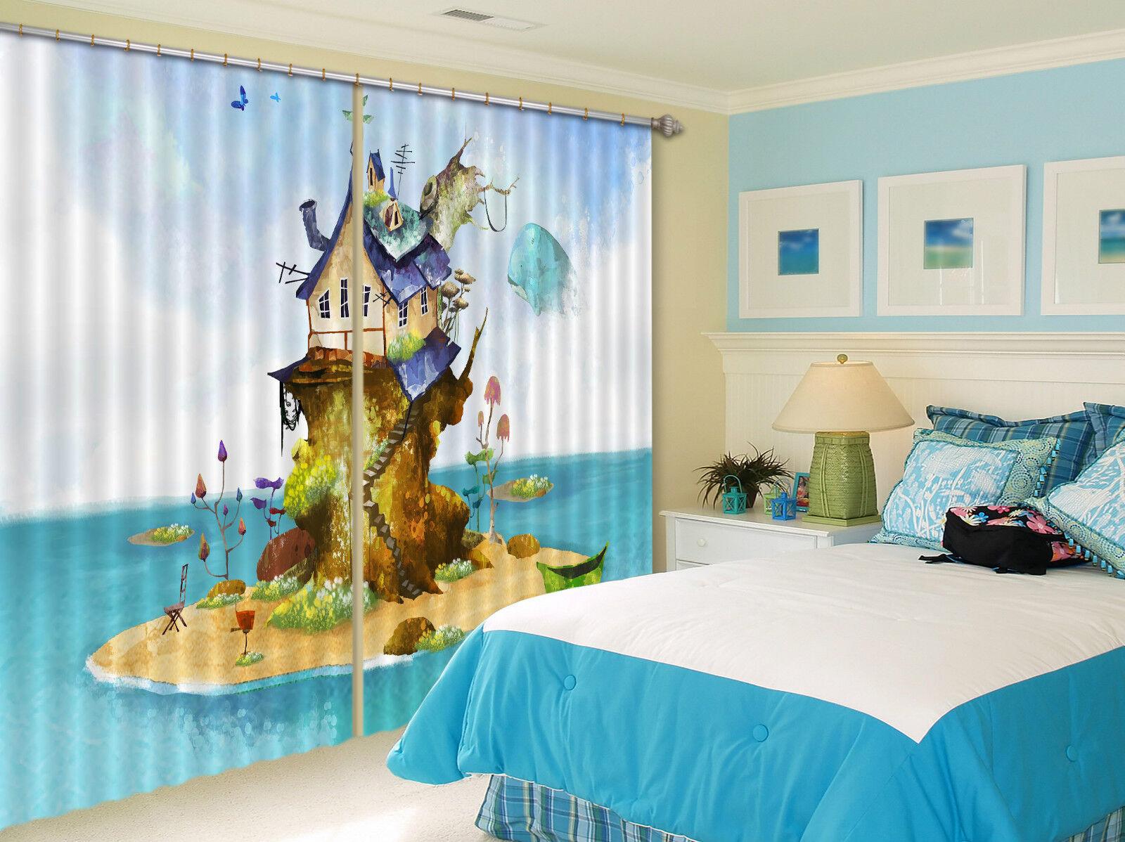3d isla casa 657 bloqueo foto cortina cortina de impresión sustancia cortinas de ventana