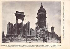 SAN FRANCISCO CALIFORNIA EARTHQUAKE RUINS OF CITY HALL POSTCARD 1906