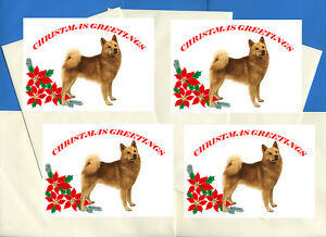 Finnish spitz pack of 4 cards dog print greeting christmas cards ebay image is loading finnish spitz pack of 4 cards dog print m4hsunfo