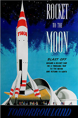 "Vintage Disney Tomorrowland [ Rocket  to the Moon ] 1955  [ 8.5"" X 11"" ] Poster"