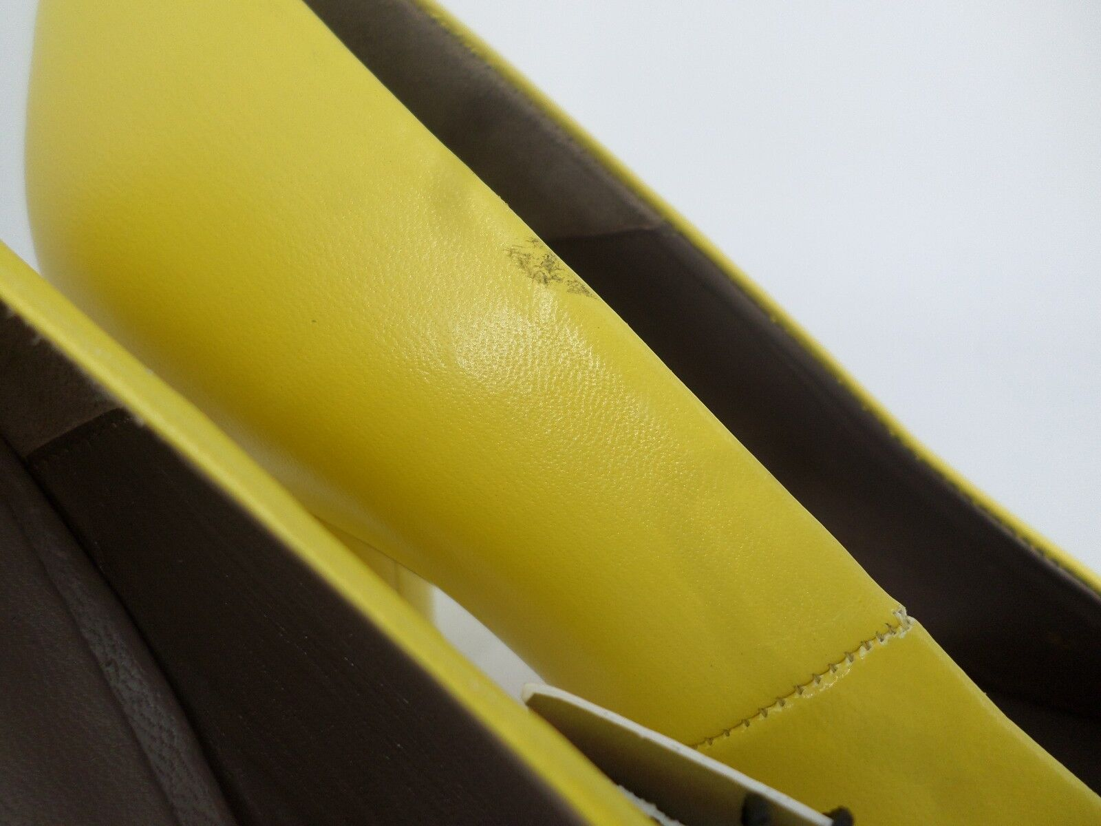 ZARA YELLOW LEATHER MID HEEL Schuhe UK 6 EU 39 LN086 ii 10