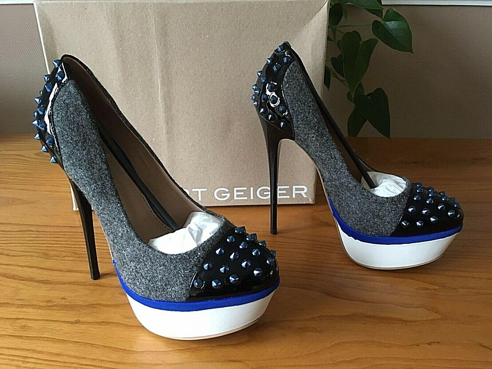 Kurt Geiger Esme grey fabric platform court shoes UK 6 EU 39   BNIB