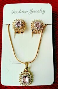 Pink-Gold-Crystal-Diamante-Necklace-Earrings-Bridal-Prom-Jewellery-Gift-Set