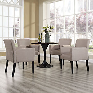 Details about Modern Farmhouse Fabric Upholstered Dining Room Armchairs in  Beige - Set of 4