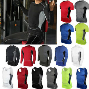 Mens-Sports-Compression-T-Shirts-Vests-Tank-Tops-Fitness-Base-Layer-Gym-Shirts