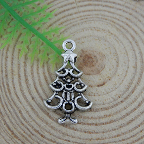 23x13x2mm Antiqued Silver Metal Christmas Tree Craft Pendant Charm 60-Pack