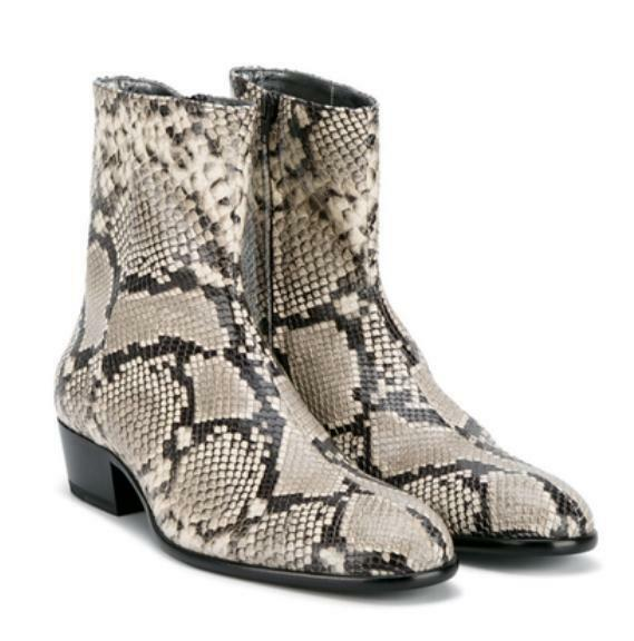 Western Cowboy  MensSkin Leather Combat Military  Zip Mid Calf Boots Shoe