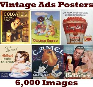 6,000 Vintage Retro Advertising Signs Posters Printable Collection