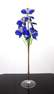 Royal Blue Glass Orchid Flower  On Wire Stem Handmade Display Arrangement Decor