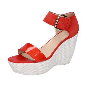 Details about Women's shoes HOGAN 7.5 (EU 37,5) sandals red suede patent leather BK654-37,5