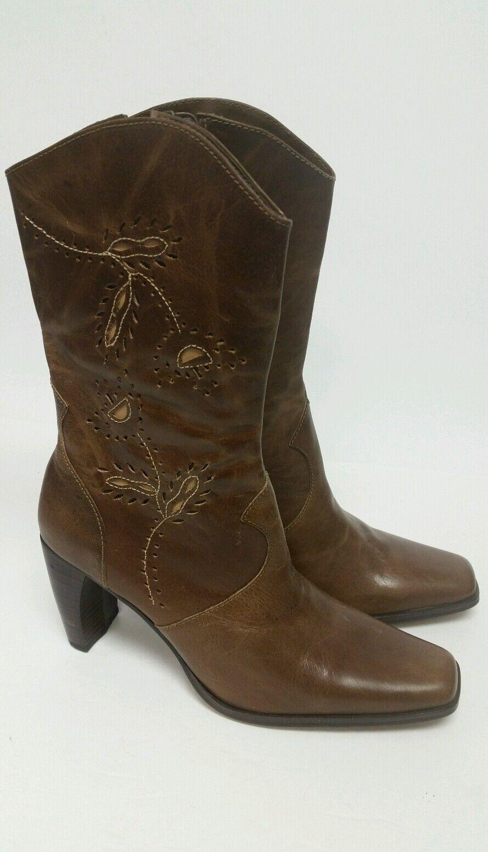 Naturalizer Women 8 Medium Brown Mid Calve Block Side Zip Casual Boots NWOB