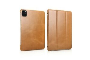 ICARER-Echt-Leder-Flip-Case-Smart-Cover-Schutzhuelle-fuer-iPad-Pro-11-034-2020-Khaki