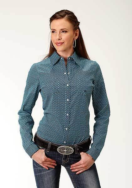 Roper  Ladies Adult SMALL bluee Prairie Print Western Performance Shirt  save 35% - 70% off