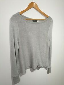 Mint-Velvet-Uk-14-Grey-Knitted-Jumper-6-Alpaca-Long-Sleeve-Contrasting-fabric