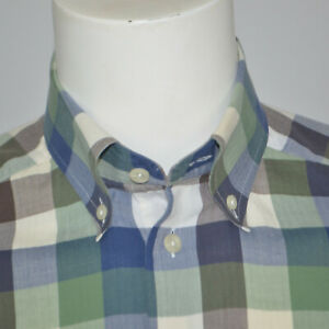 ETON-Contemporary-Fit-Light-Weight-Herringbone-Cotton-Green-Plaid-Casual-Shirt-M