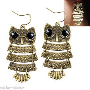 Vintage Retro Old Cute Owl Big Black Eyes Bronze Pendant Dangle Earring Fashion