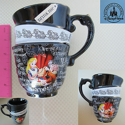 New Authentic Orig. Disney Parks Alice in the Wonderland Stacked Ceramic Mug Cup