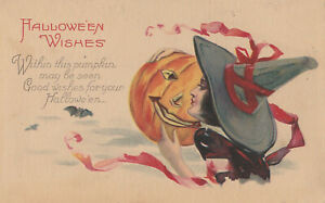 S21-1673-Vintage-Halloween-Postcard-Series-1238-A-Lovely-Witch-Holds-JOL-c-1905