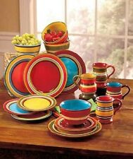Striped Southwest Colorful Dinnerware 16 Pc Set Earthenware Plates Bowls Mugs