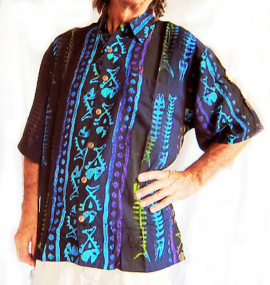 895a3f9d7 LOUD HAWAIIAN HAND-PAINTED SHIRT BLACK with stripes/ fishbones, DOUBLE DUCK,  new