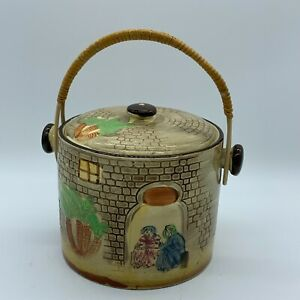 Vintage Japanese Pottery Biscuit Jar Canister Wicker Handle Hand Painted