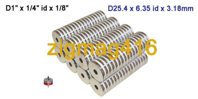 "10 pcs of OD1"" x1/4""id x1/8"" thick  Rare Earth Neodymium Ring Magnets"
