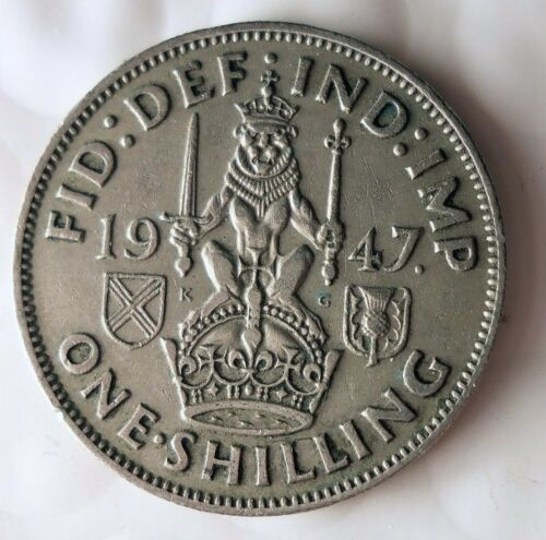 Scottish Crest FREE SHIP 1947 GREAT BRITAIN SHILLING Shilling Bin A