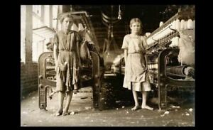 1911 Barefoot Girls Cotton Mill PHOTO Children Child Labor Factory Workers