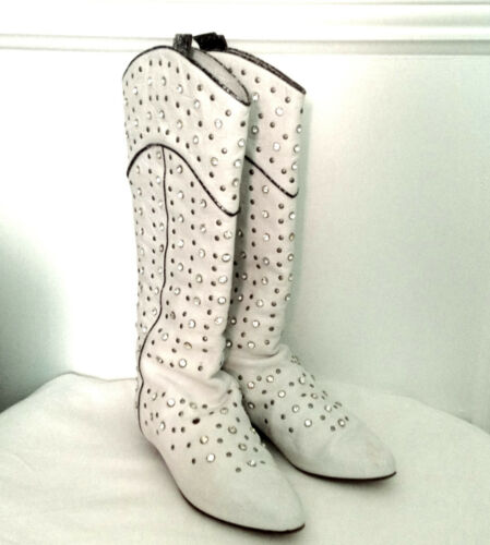Rhinestone Cowboy Boots White Leather Stud Cowgirl
