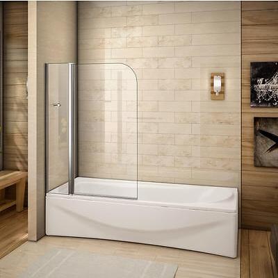 1000x1400mm Chrome 180°Pivot Bath Shower Screen 6mm Glass Over Double Door Panel