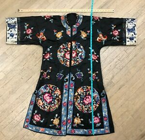 Rétro Robe Vintage Taille 18-20 grande Chine Cremona Chine soie crêpe de Chine