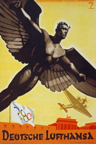 AZ05 Vintage 1936 German Deutsche Lufthansa Olympics Poster Re-Print A4